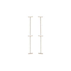 14k 3 horizontal gold bar drop earrings