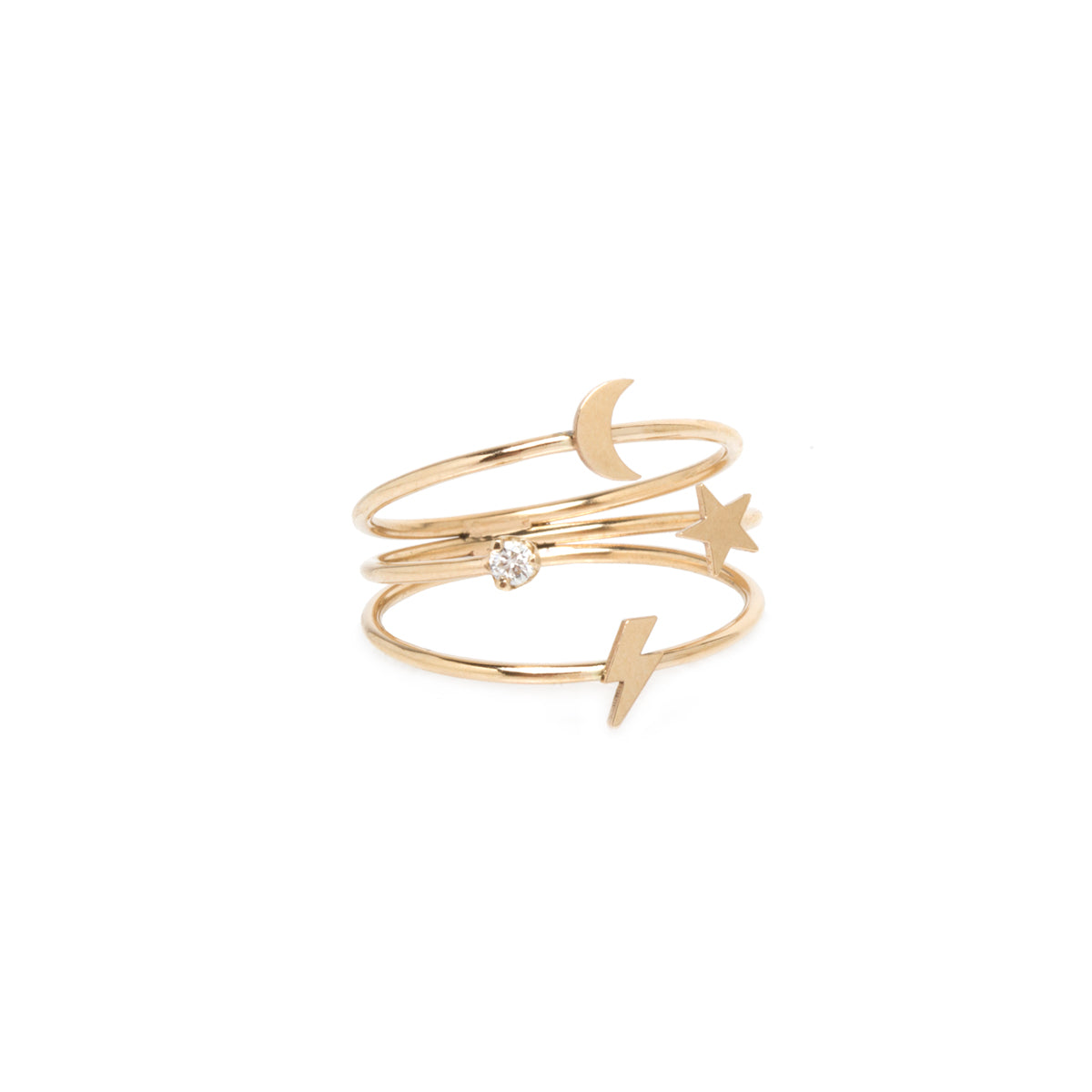14k gold 3 band ring with prong diamond and itty bitty symbols