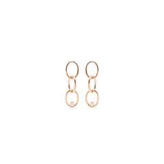 14k prong set diamond chain link earrings