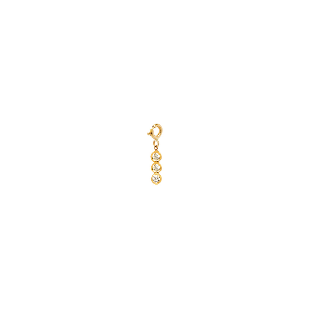 14k 3 vertical white diamond charm pendant with spring ring