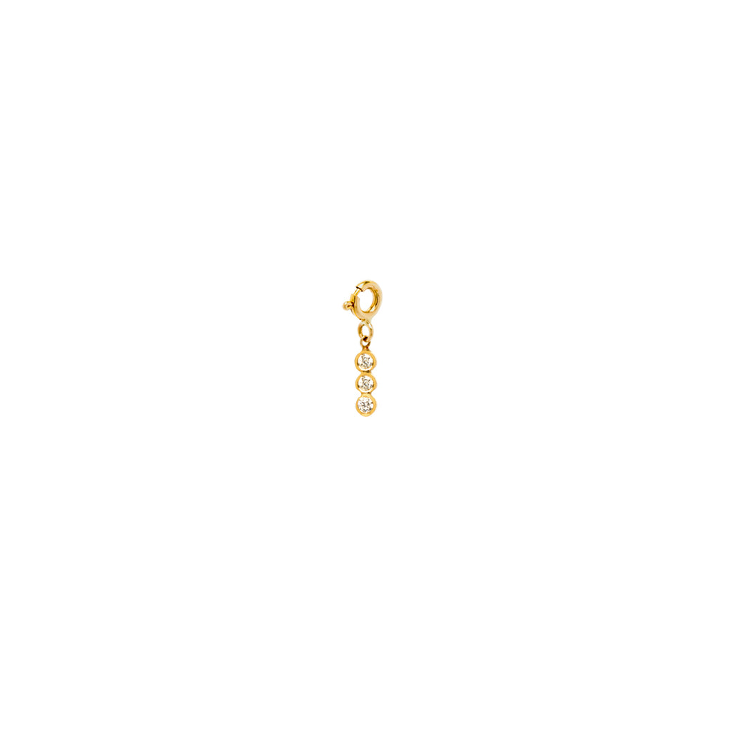 14k single 3 vertical white diamond charm pendant
