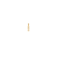 14k single 3 vertical white diamond charm