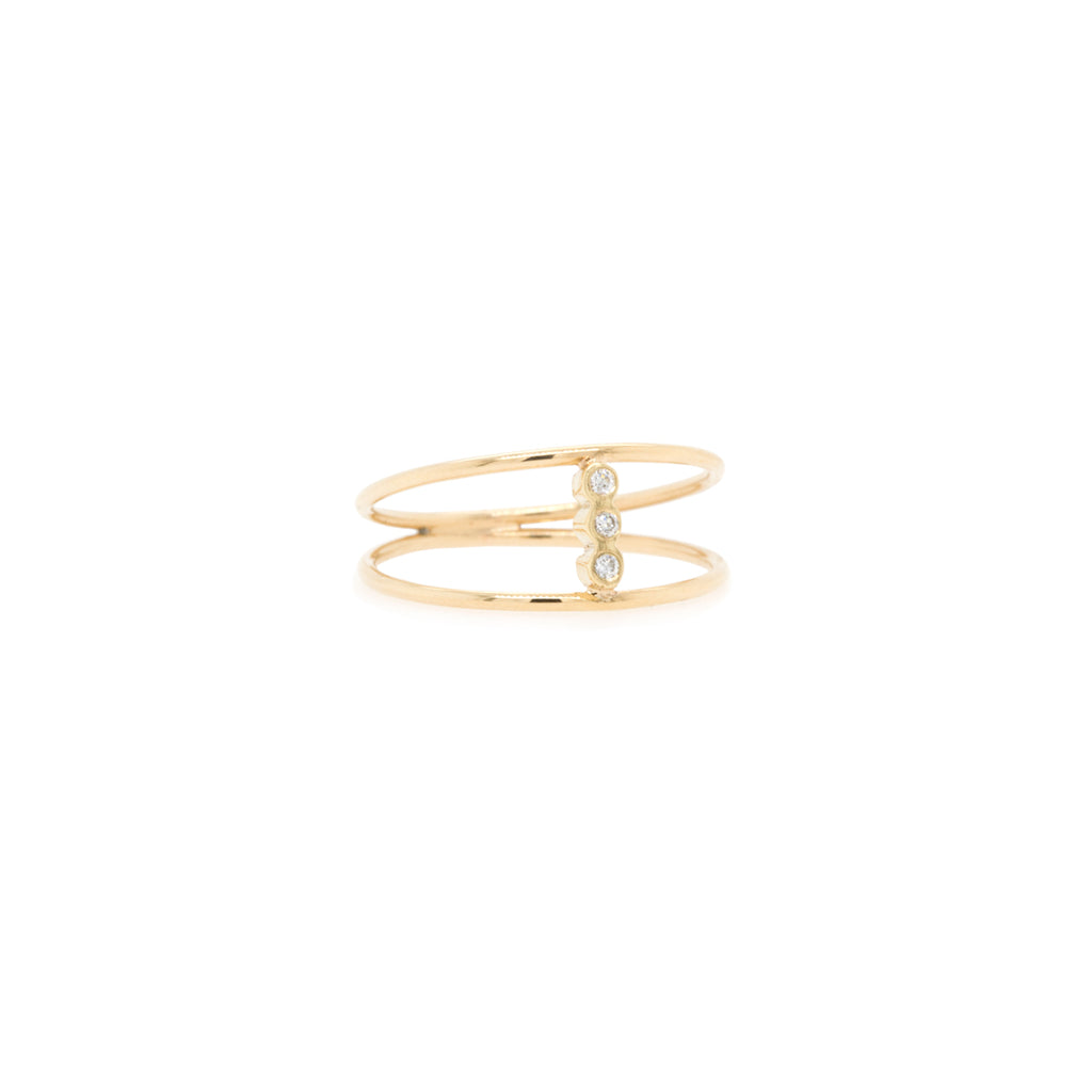 14k gold double band bezel diamond bar ring