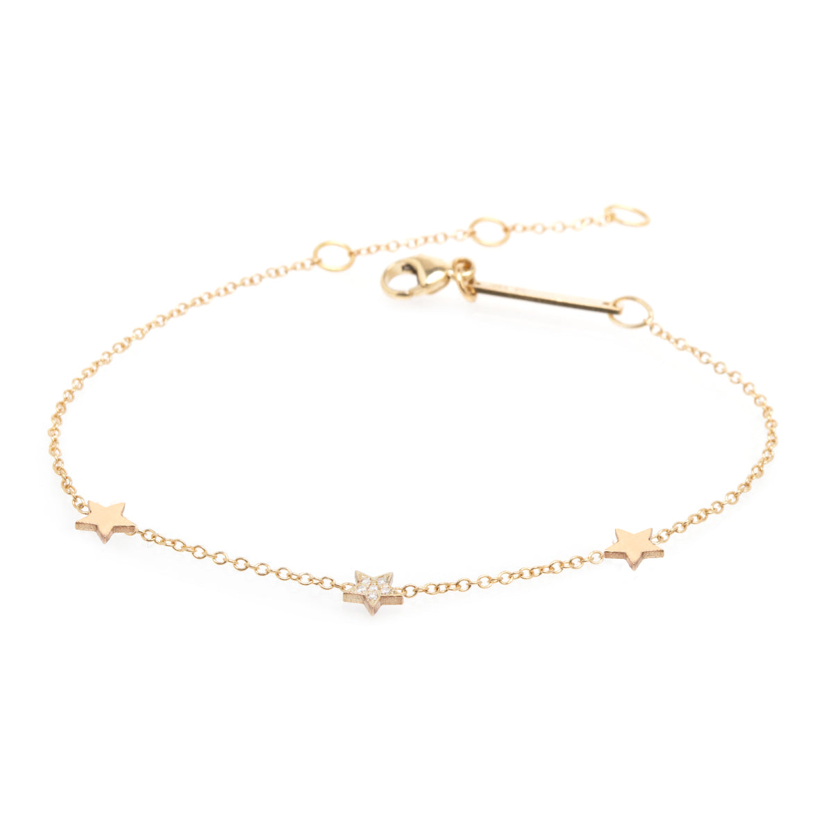 14K Star Trio Itty Bitty Bracelet