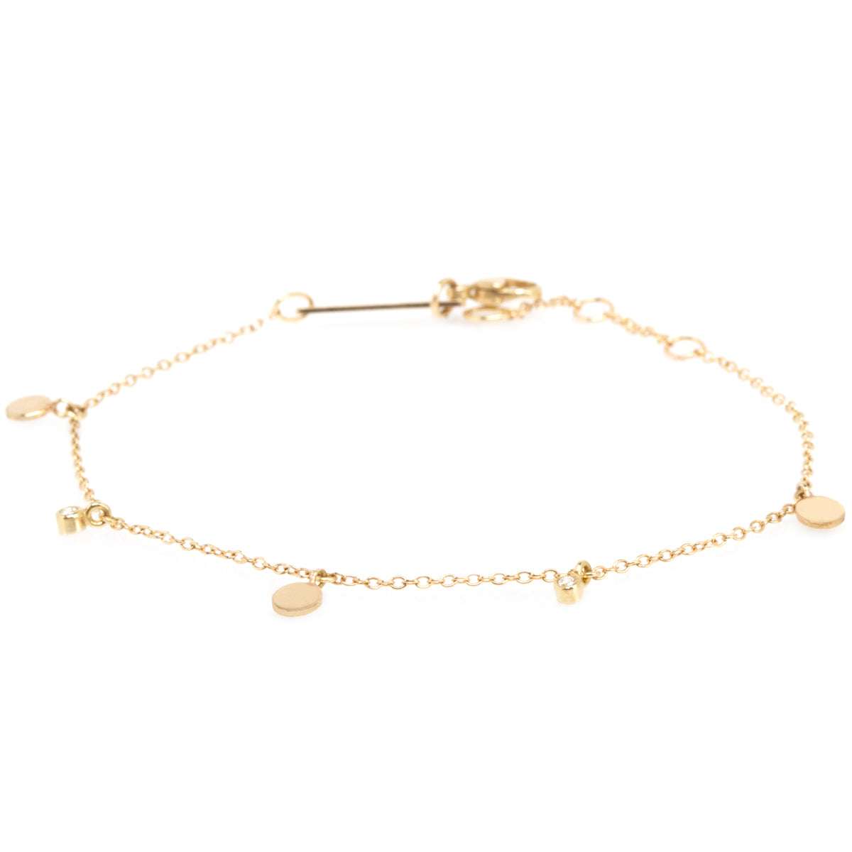 14k 3 itty bitty gold disc and dangling diamond charm bracelet