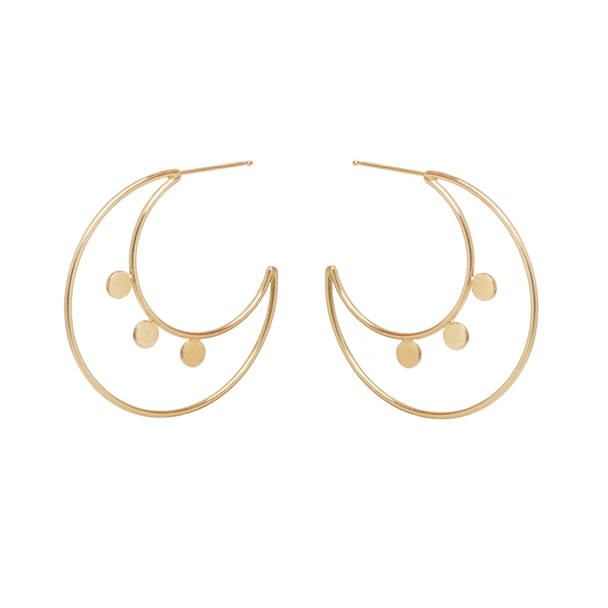 14k round disc double hoops