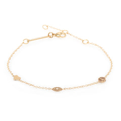 14K Peace and Love Itty Bitty Bracelet