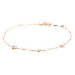 14K Itty Bitty Luck and Love Bracelet