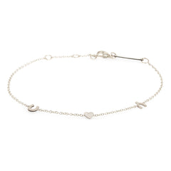 14K Pave Diamond Itty Bitty Luck and Love Bracelet