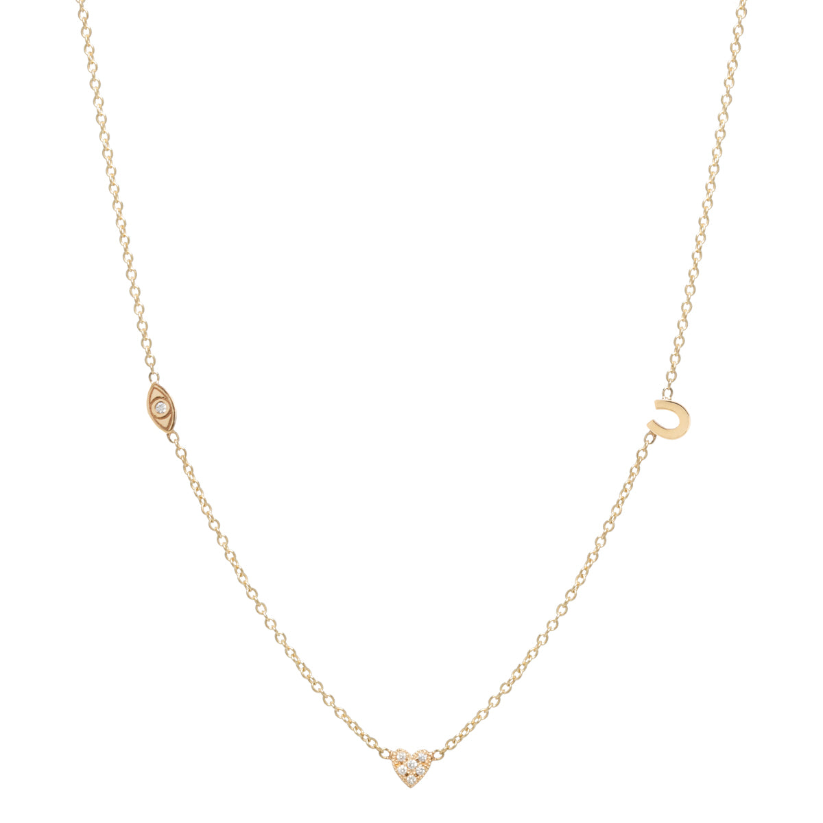 "14k itty bitty ""eye heart u"" necklace"
