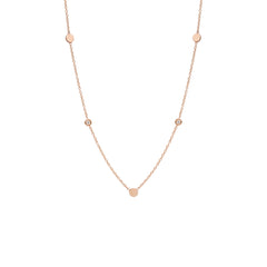 14k 3 itty bitty discs with floating diamonds station necklace