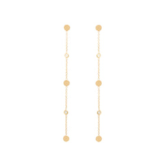 14k 3 itty bitty gold disc and diamond drop earrings