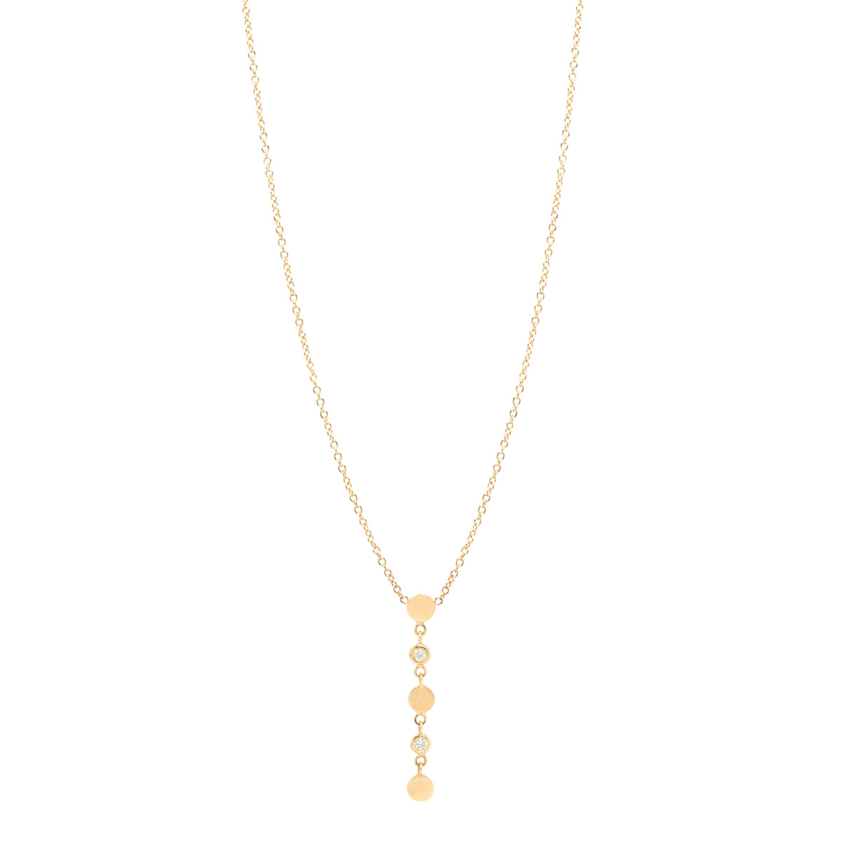 14k 3 itty bitty discs with floating diamonds drop necklace