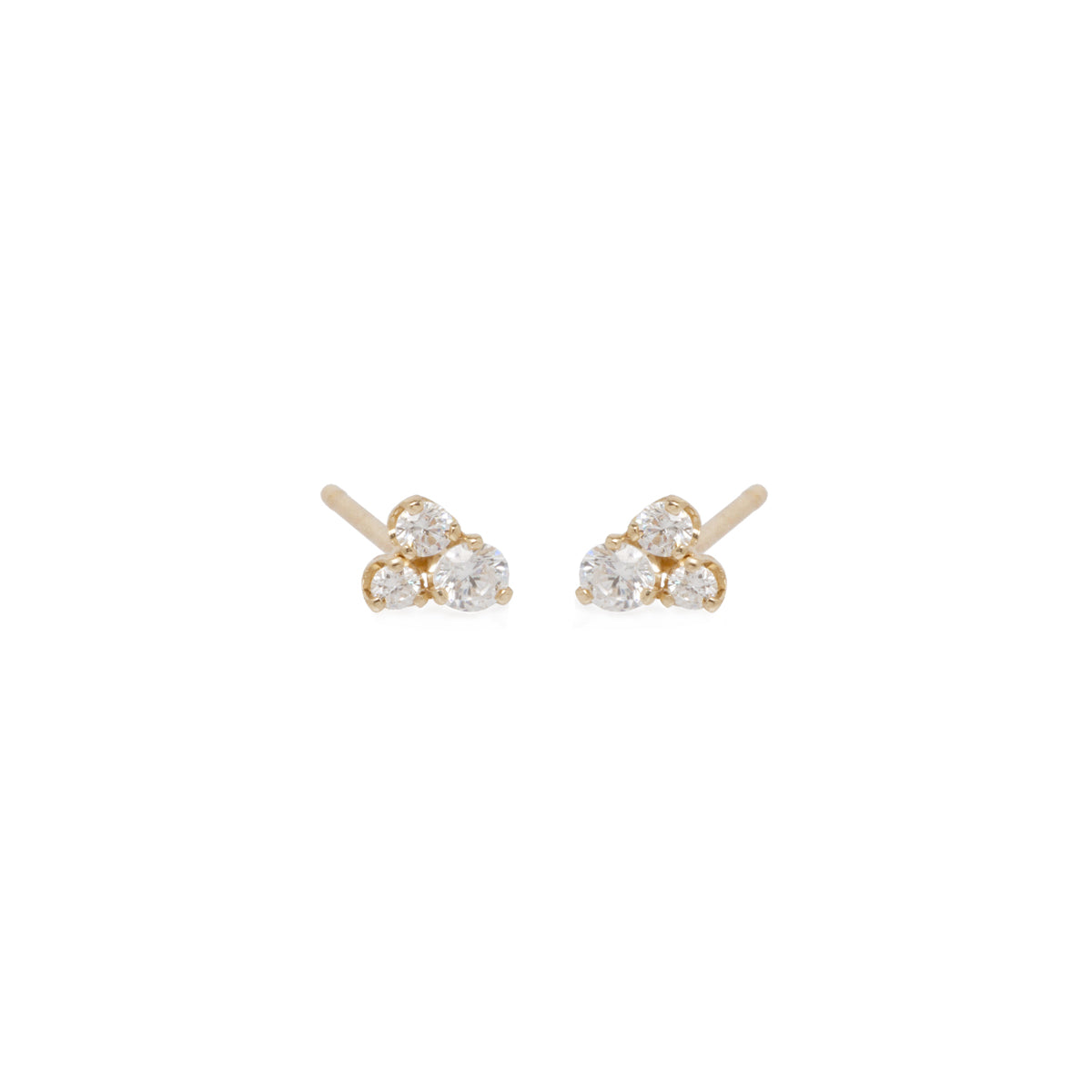 3 small mixed diamond prong earrings