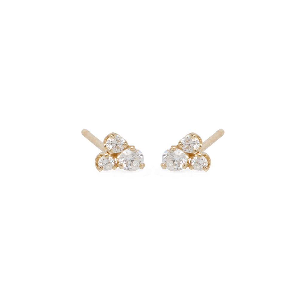 14k 3 large mixed diamond prong earrings