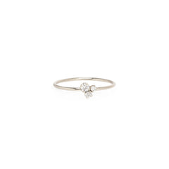 14k 3 mixed diamond prong trio ring