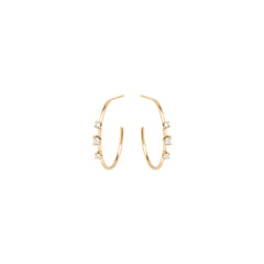 14k 3 prong set diamond small hoops