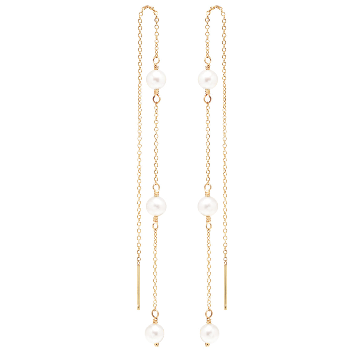 14k cable chain threader earrings with 3 pearls
