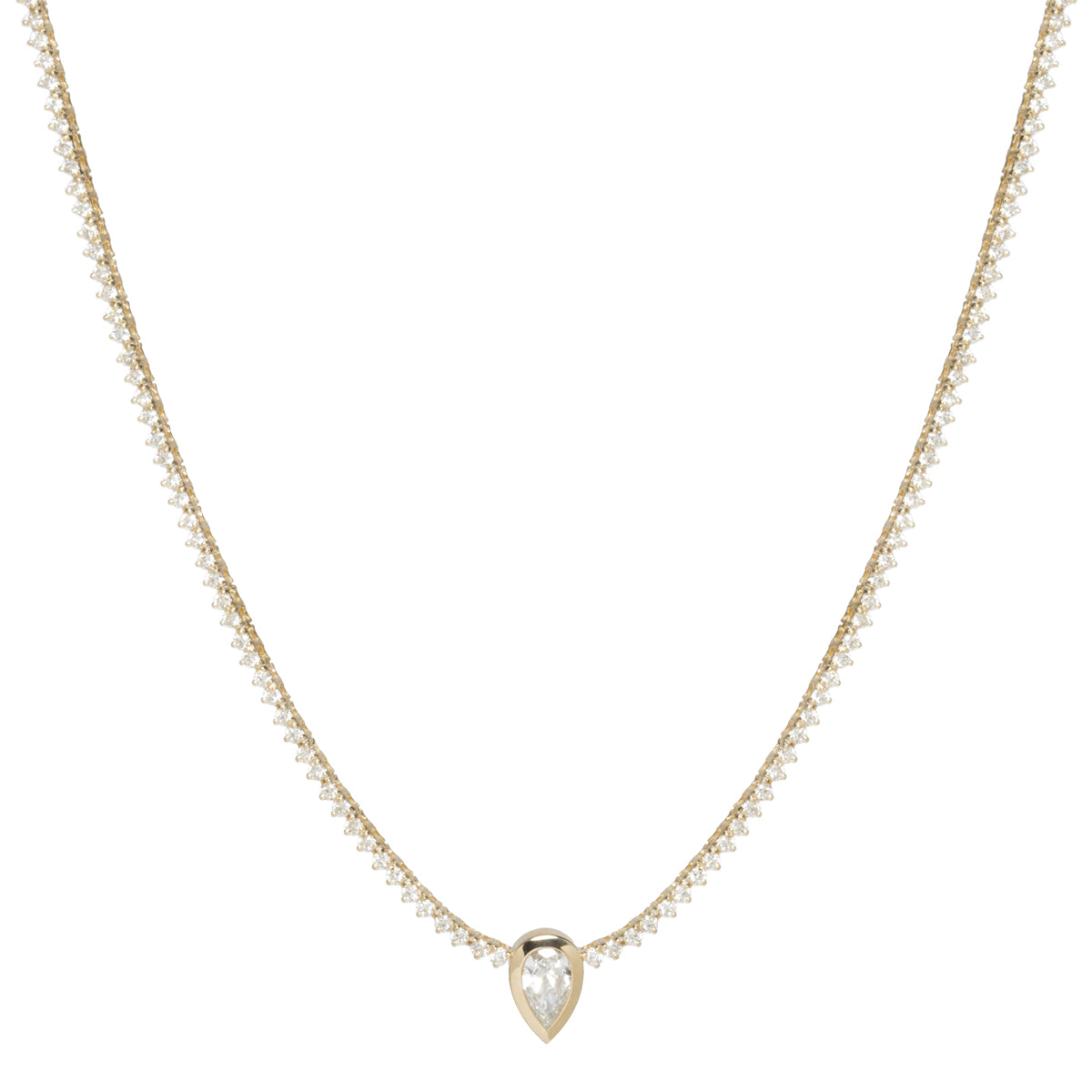 14k pear cut diamond pendant with prong diamond tennis necklace