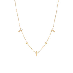 14k 3 vertical tiny bars with floating diamonds station necklace