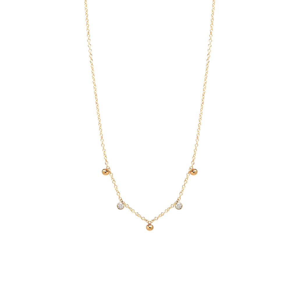 14k scattered white diamond and tiny beads necklace