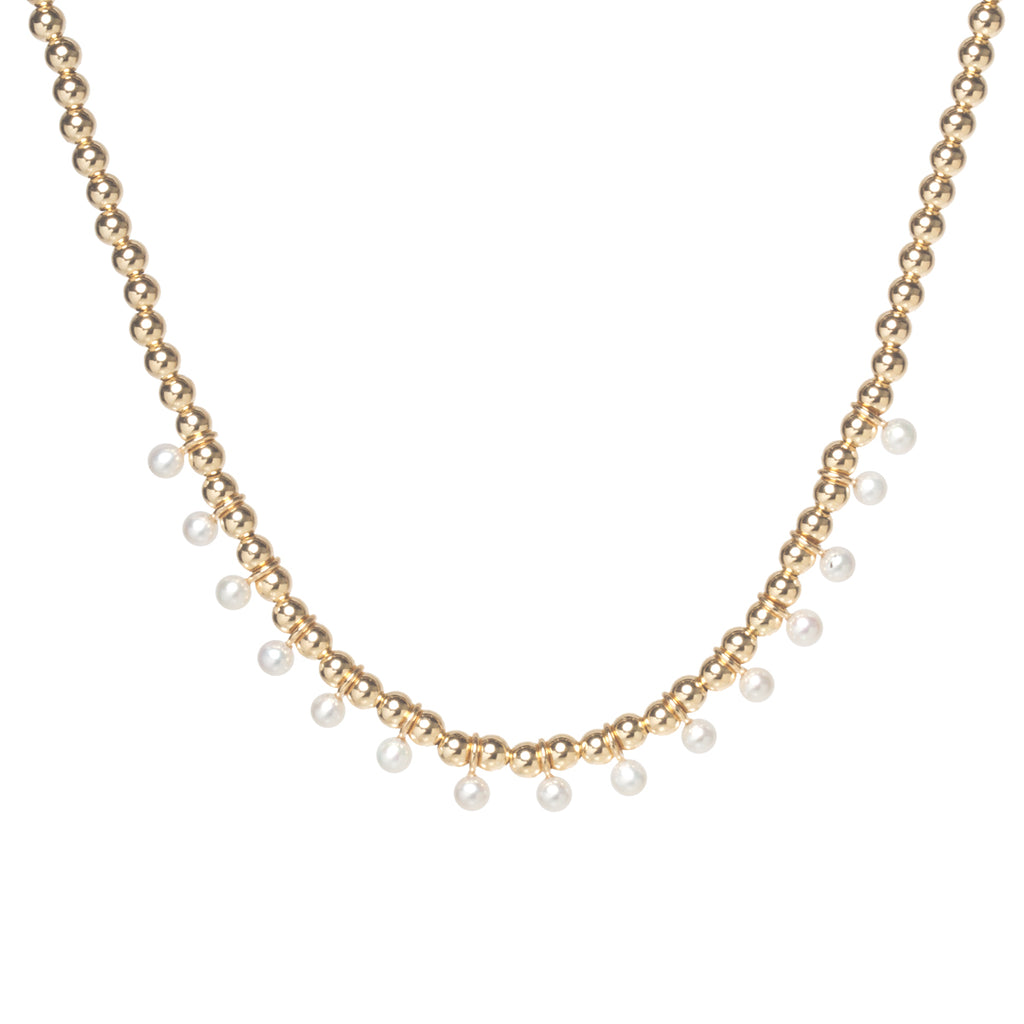 14k gold bead and tiny pearl eternity necklace