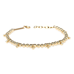 14k gold bead and dangling bezel diamond bracelet