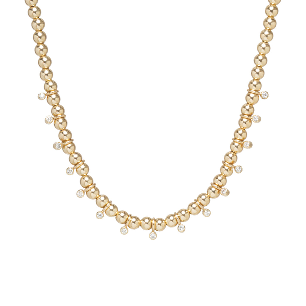 14k gold bead and bezel diamond eternity necklace