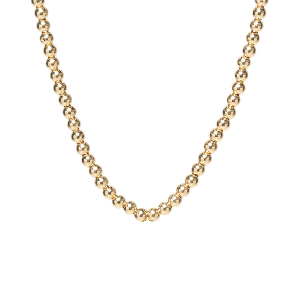 14k gold bead eternity necklace