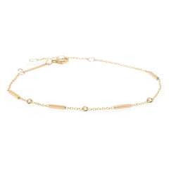 14k 4 horizontal bars bracelet with floating white diamonds