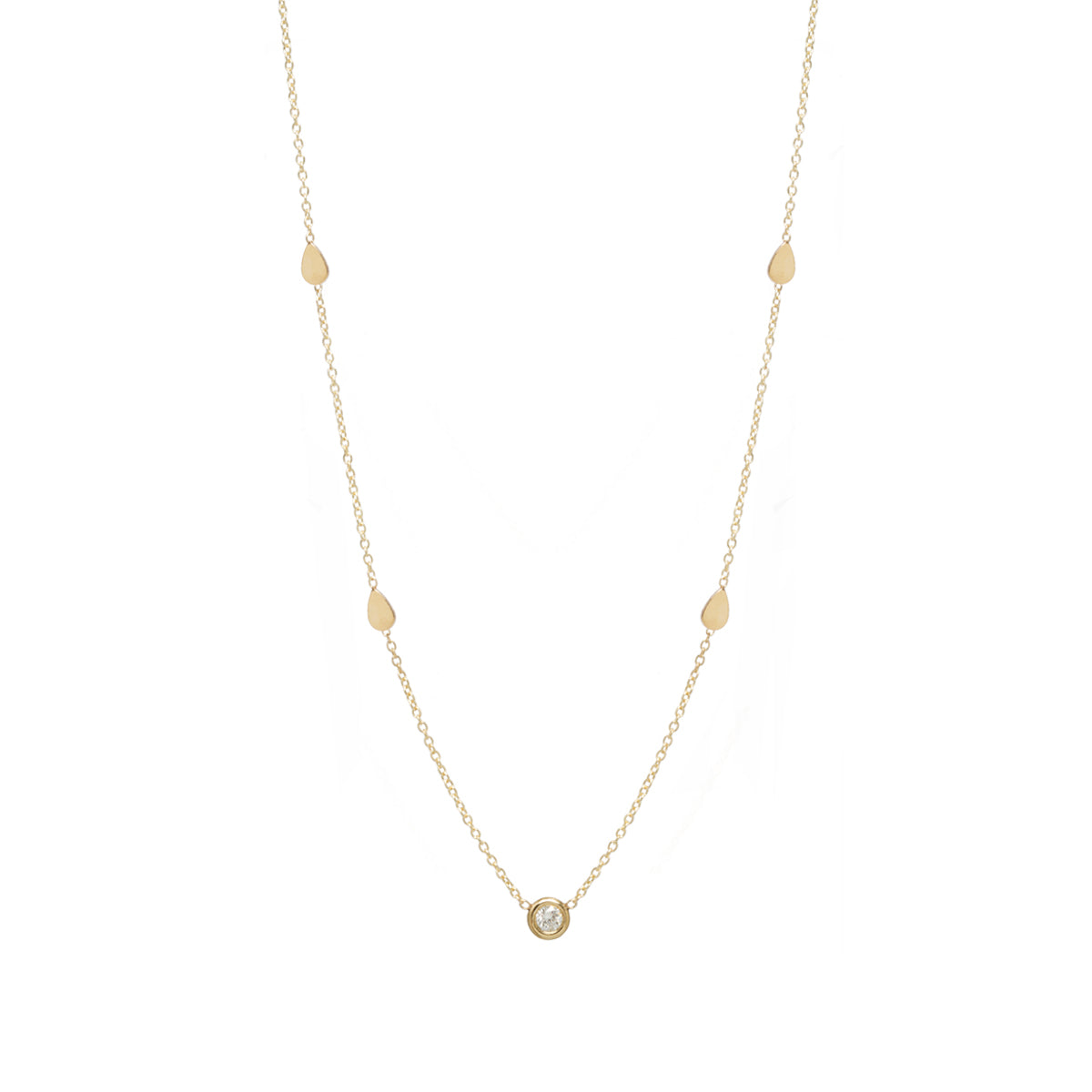 Zoe Chicco 14kt Gold Floating Diamond and Tear Necklace