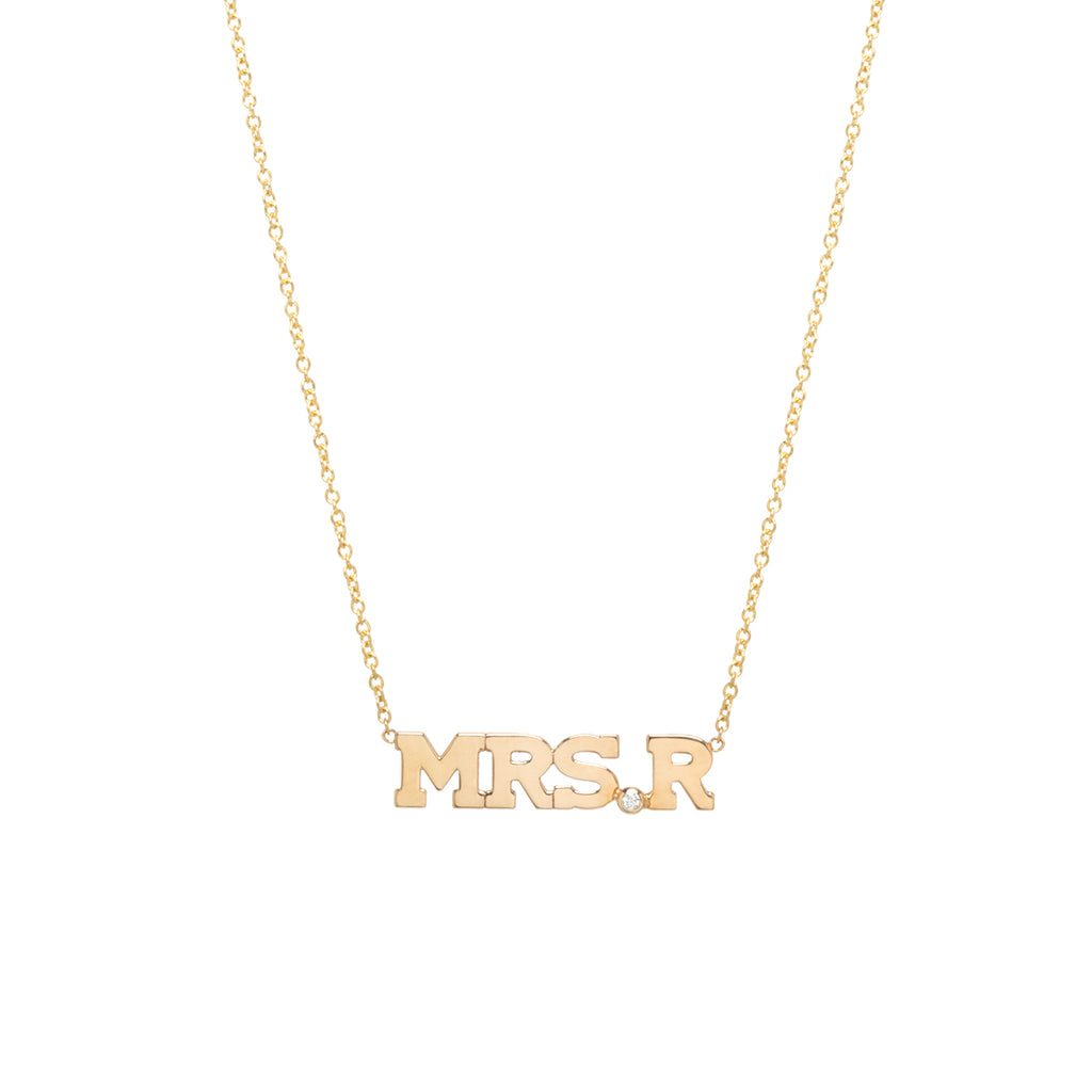 14k MRS initial necklace