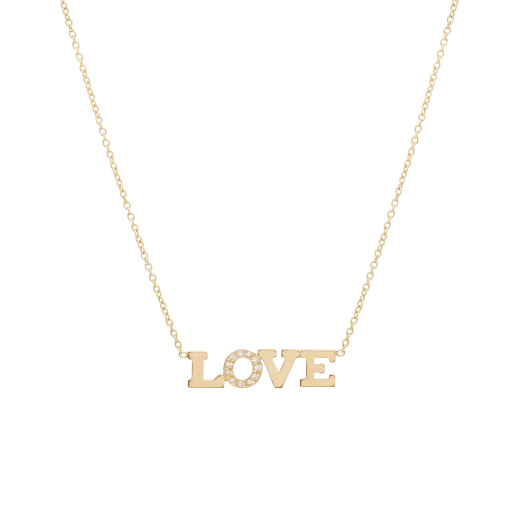 14k pave diamond 4 LETTER necklace