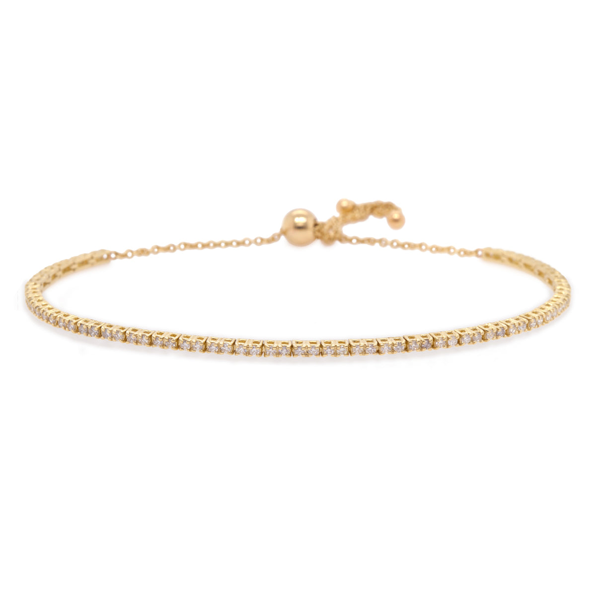 14k prong diamond bar tennis bolo bracelet