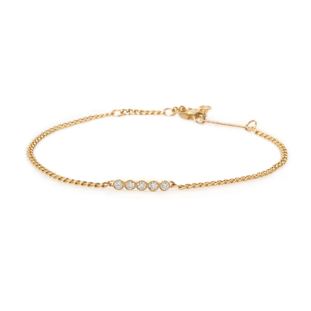 14k extra small curb chain bracelet with 5 diamond bezel set bar