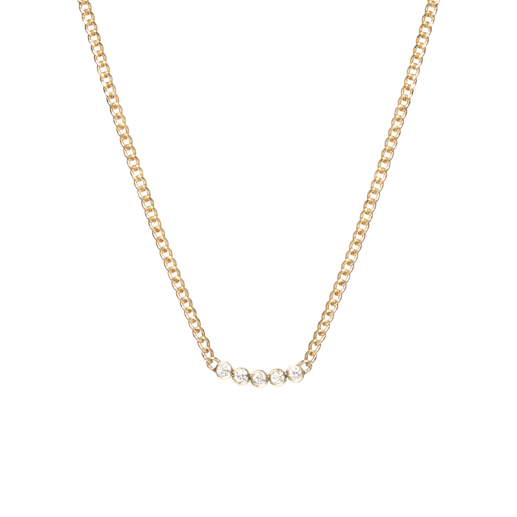 14k five diamond extra small curb chain necklace