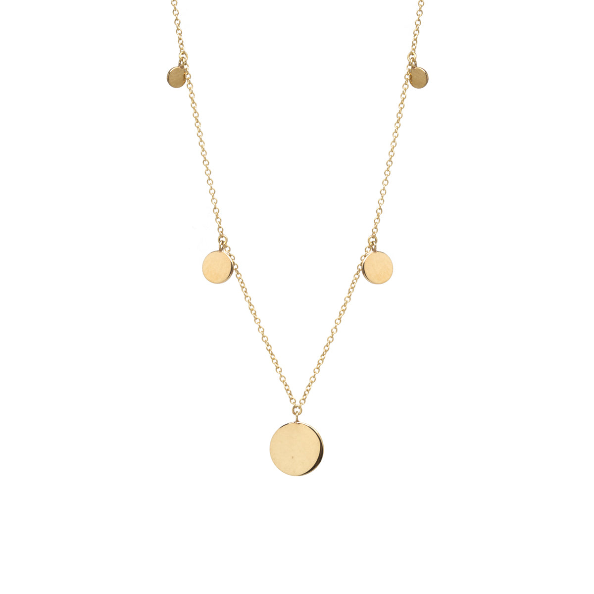 14k graduated gold discs station necklace