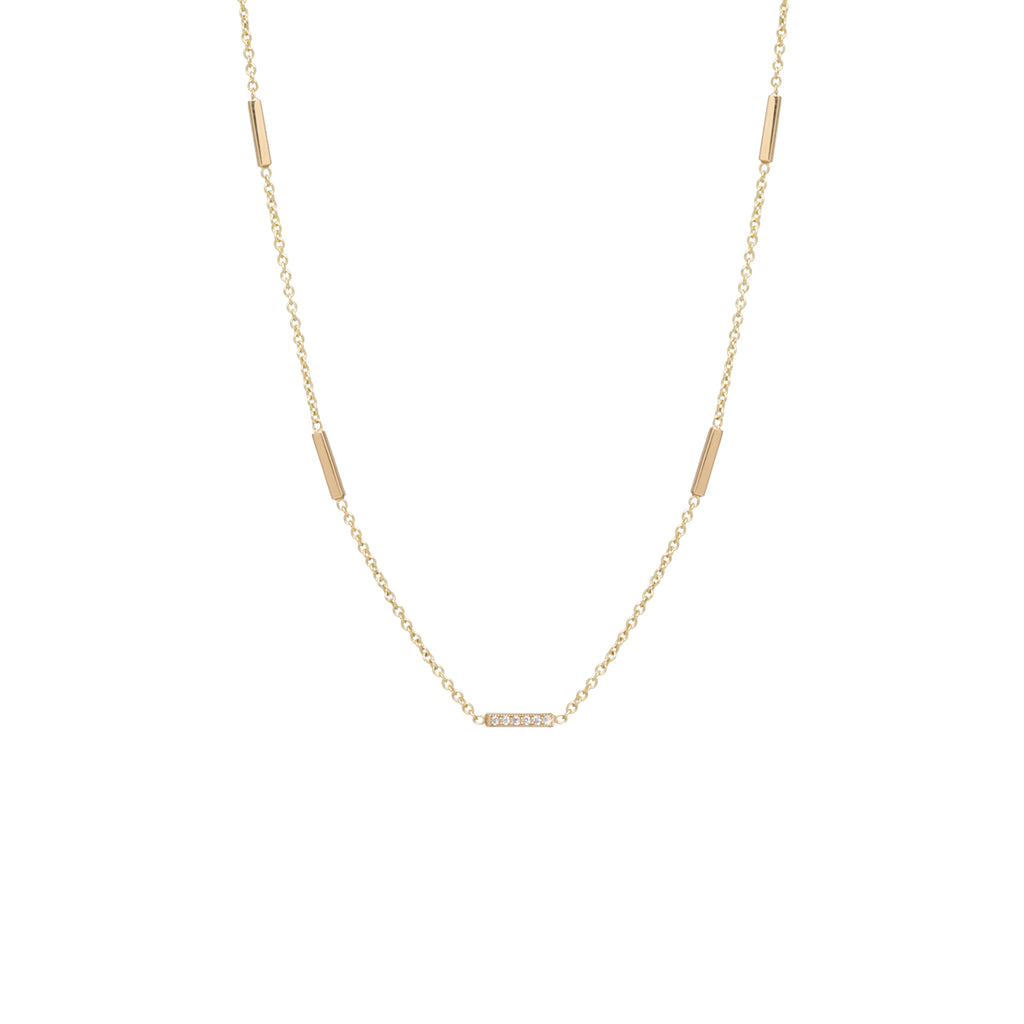 Zoë Chicco 14kt Yellow Gold 5 Tiny Bar Station White Diamond Pave Necklace