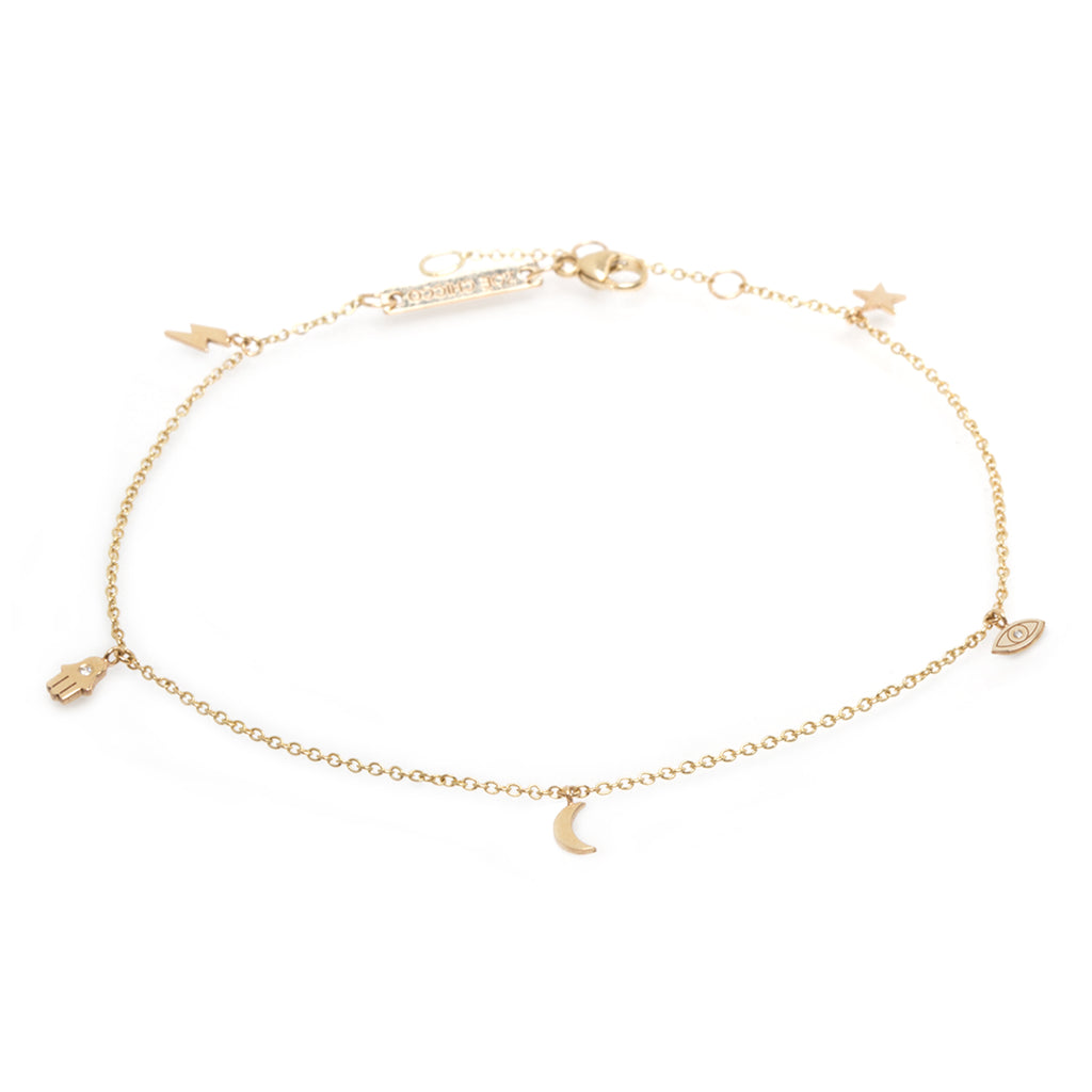 Zoë Chicco 14kt Yellow Gold Celestial Diamond Itty Bitty Dangle Bracelet