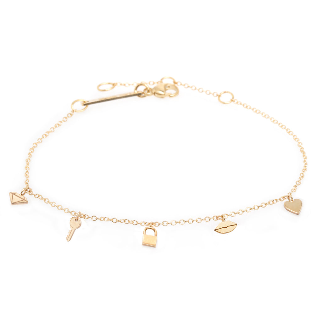 14K Love on Lock Itty Bitty Dangle Bracelet