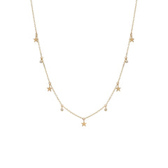 14k itty bitty dangling star & diamond choker necklace