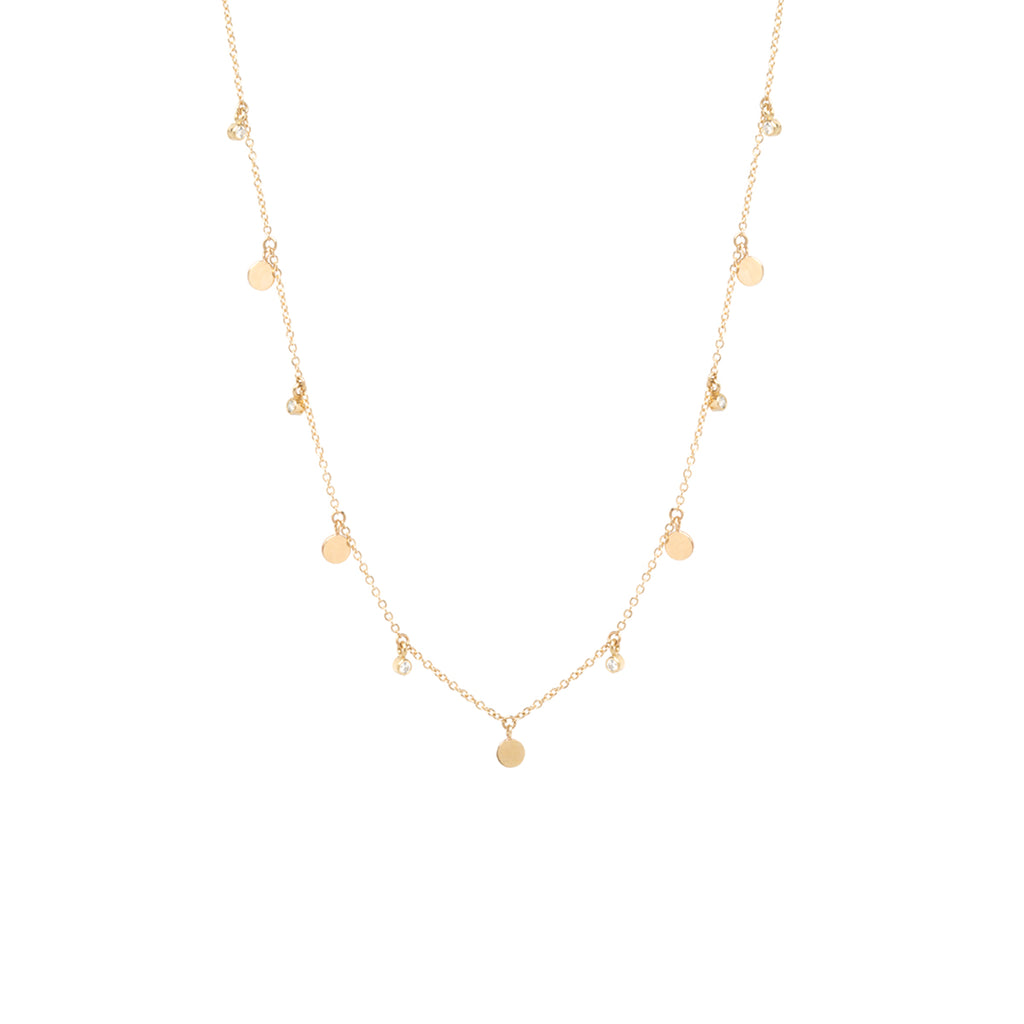 14k 5 itty bitty dangling disc & diamond necklace