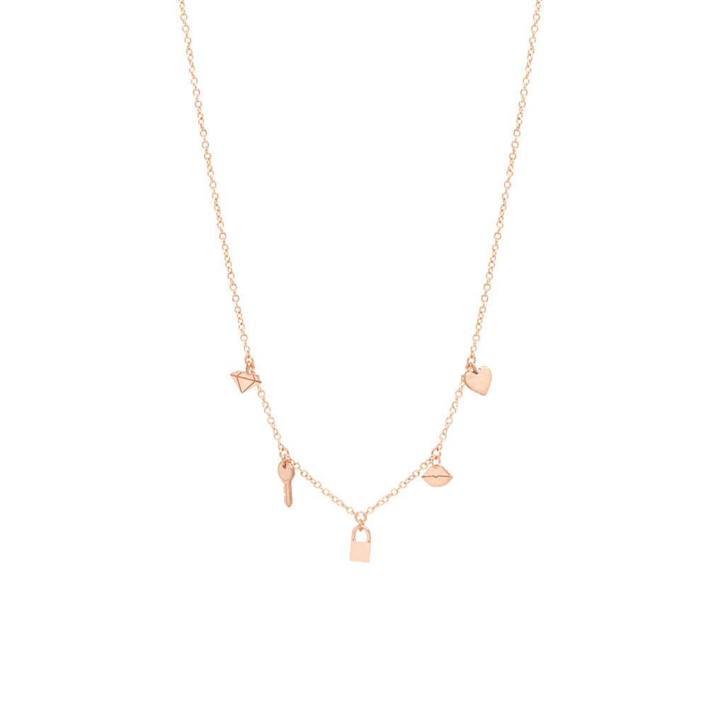 14k love on lock itty bitty charms necklace