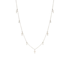 14k 5 itty bitty dangling crosses & diamonds necklaces