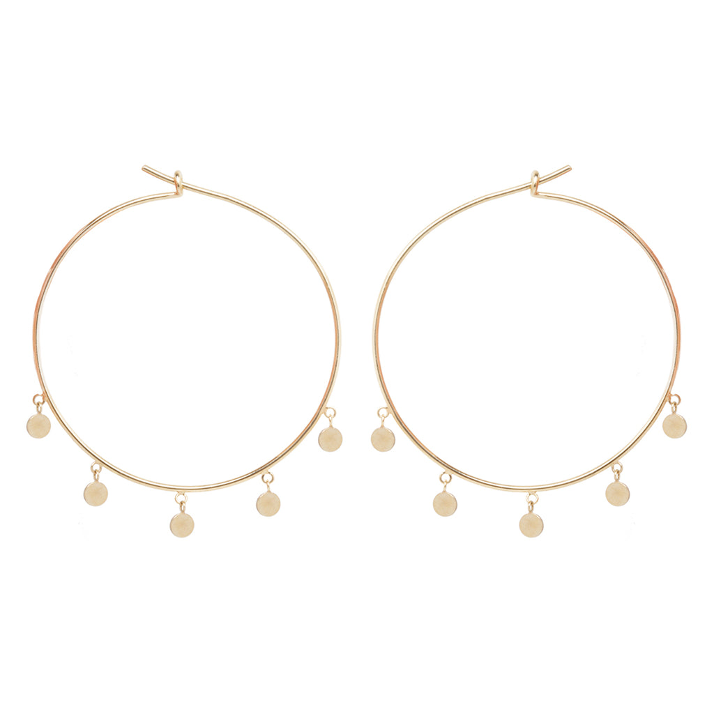 14k large 5 dangling itty bitty discs hoops