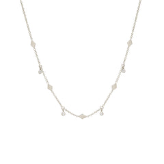 Zoë Chicco 14kt White Gold Dangling Diamond and Itty Bitty Diamond Shape Choker
