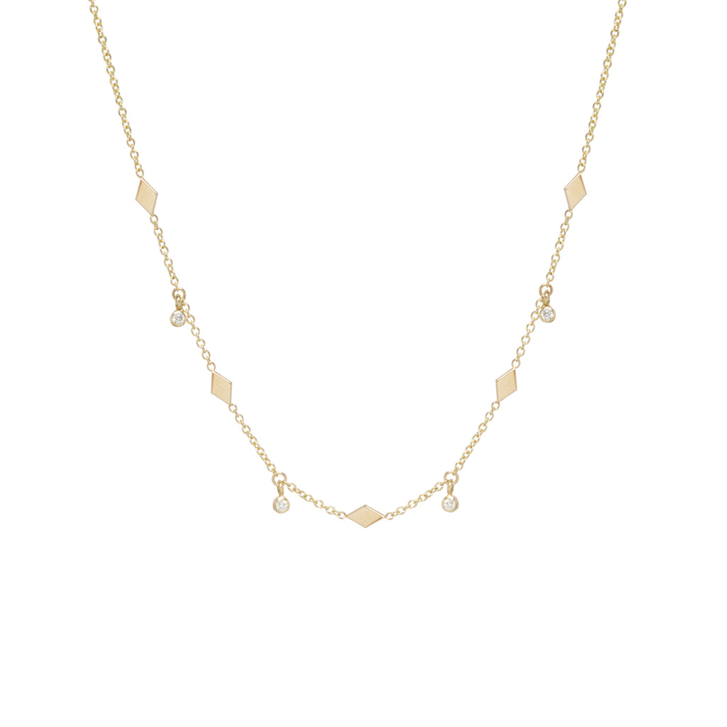 Zoë Chicco 14kt Yellow Gold Dangling Diamond and Itty Bitty Diamond Shape Choker