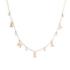 14k dangling diamonds & letters charm necklace