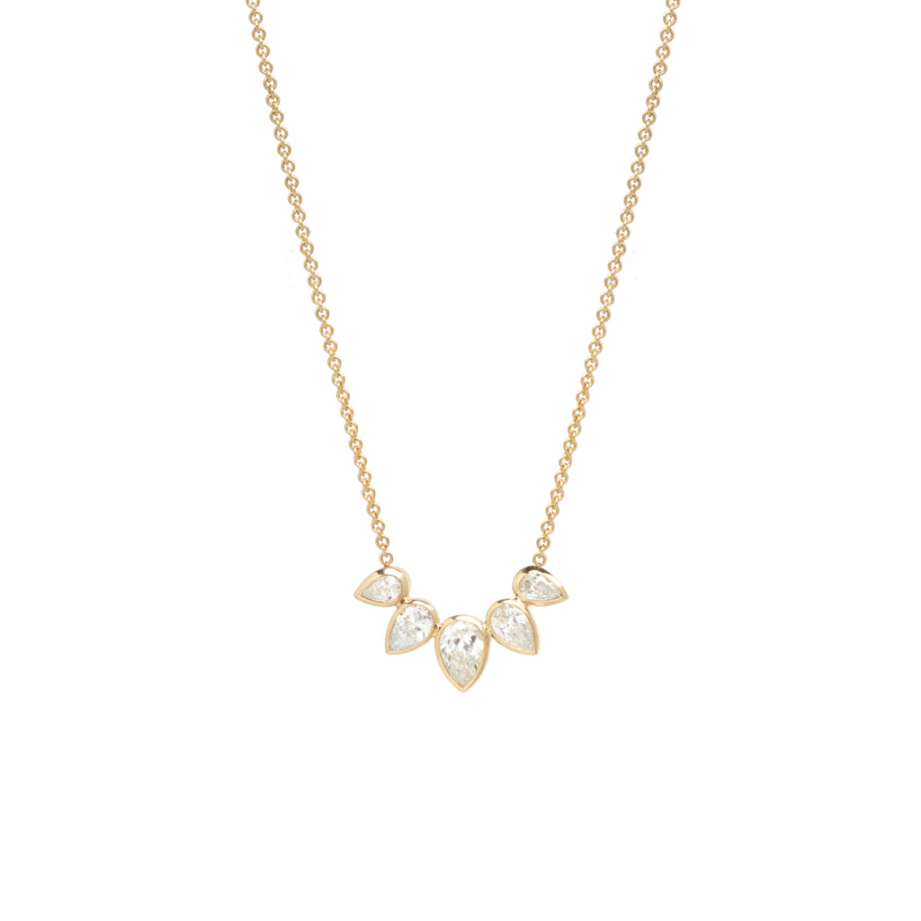 14k 5 pear diamond fan necklace