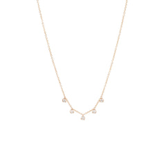 14k 5 prong set diamonds station necklace